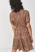 Cotton On - Woven satin button up tea dress - leopard tan