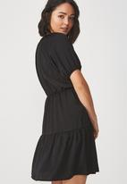 Cotton On - Woven satin button up tea dress - black