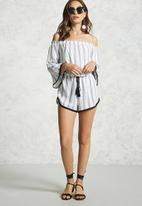 Forever21 - Off shoulder stripe playsuit - cream