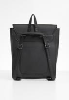 Superbalist - Ring detail faux leather backpack - black