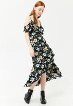 Forever21 - Floral high low maxi dress - black