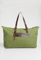 Superbalist - Travel canvas and leather bag - khaki / brown
