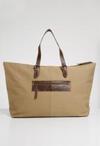 Superbalist - Travel canvas and leather bag - neutral / brown
