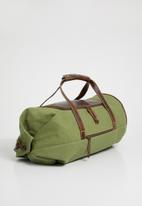 Superbalist - Zach canvas and leather military duffel - khaki / brown