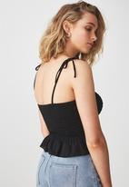 Cotton On - Hayley button through top - black