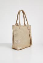 Julz - Leather vera tassel detail tote bag rose - gold