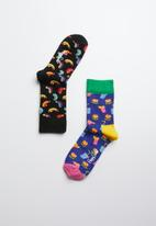 Happy Socks - Kids burger socks 2 pack - multi