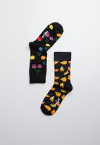 Happy Socks - Kids cherry socks 2 pack - navy & black