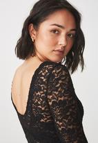 Cotton On - Lace long sleeve bodysuit - black