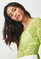 Cotton On - Lace long sleeve bodysuit - green