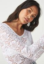 Cotton On - Lace long sleeve bodysuit - white
