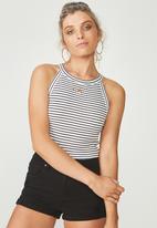 Supré  - Courtney cutaway rib top - black & white stripe