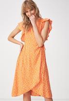 Cotton On - Woven winnie wrap dress - orange