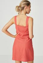 Supré  - Penny button through dress - coral