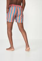 Cotton On - Swim apricot red stripe short - multi