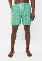 Superbalist - Printed elasticated swimshorts - green
