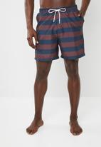 Superbalist - Printed elasticated swimshorts - bronze & navy