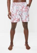 Superbalist - Printed elasticated swimshorts - red