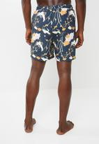 Superbalist - Printed elasticated swimshorts - navy