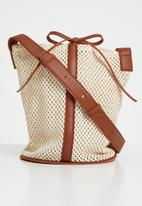 Superbalist - Kristin bucket bag-burgundy - cream & brown natural