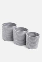 Sixth Floor - Cotton rope storage basket set of 3 - grey