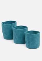 Sixth Floor - Cotton rope storage basket set of 3 - teal
