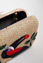 Superbalist - Embroidered straw clutch bag - cream