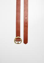 Superbalist - Round leather buckle belt - tan