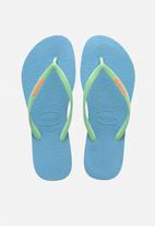 Havaianas - Slim logo pop-up flip flops - blue & green