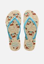 Havaianas - Slim pets flip flops - beige & blue