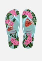 Havaianas - Slim floral flip flops - blue