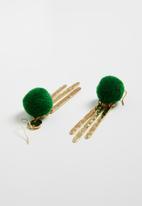 Superbalist - Pom pom earrings - green & gold