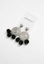 Superbalist - Leighton pom pom earrings - silver & black