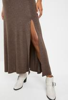 Superbalist - Poloneck slit detail dress - brown