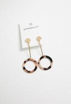 Superbalist - Kaylee suspended round earrings - brown