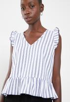 Superbalist - Poplin blouse - white & blue