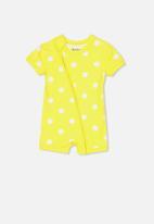 Cotton On - Mini short sleeve zip through romper - yellow & white