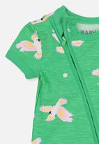 Cotton On - Mini short sleeve zip through romper - green & pink
