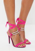 MHNY by Madison - Double strap embellished heels - pink