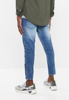 Superbalist - Cropped skinny biker abrasions jeans - blue