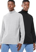 Superbalist - Plain roll neck 2 pack tees - black/grey