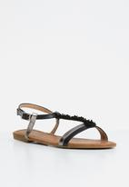 Butterfly Feet - Flower detail sandals - black