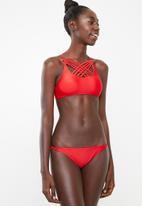 London Hub - Ruffle detail bikini set - red