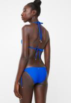 Sissy Boy - Side-tie bikini bottom and gold trim - blue