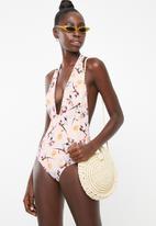 PIHA - Deep v-neck halter suit - pink