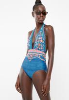 PIHA - Deep v-neck halter swimsuit - multi