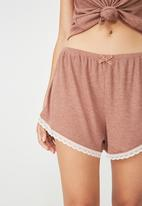 Cotton On - Rib lace short - brown