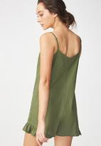 Cotton On - Woven lilly strappy frill playsuit - khaki