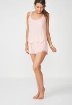 Cotton On - Rib lace tank top -  pink
