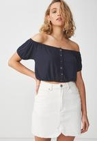 Cotton On - Sally off the shoulder top - navy